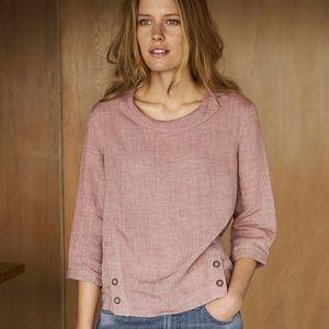Poetry Round Collar Linen Blouse Top